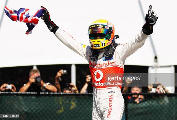 Lewis Hamilton of Great Britain and McLaren celebrates in parc ferme after winning the Canadian Formula One Grand Prix at the Circuit Gilles...