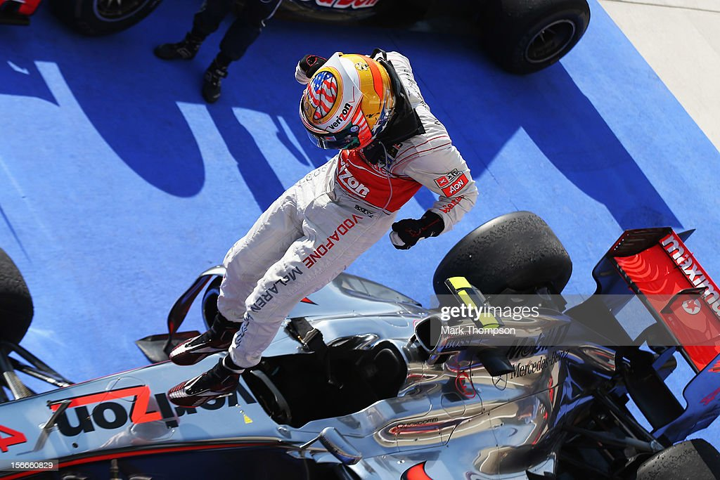 <a gi-track='captionPersonalityLinkClicked' href=/galleries/search?phrase=Lewis+Hamilton+-+Racecar+Driver&family=editorial&specificpeople=586983 ng-click='$event.stopPropagation()'>Lewis Hamilton</a> of Great Britain and McLaren celebrates in parc ferme after winning the United States Formula One Grand Prix at the Circuit of the Americas on November 18, 2012 in Austin, Texas.