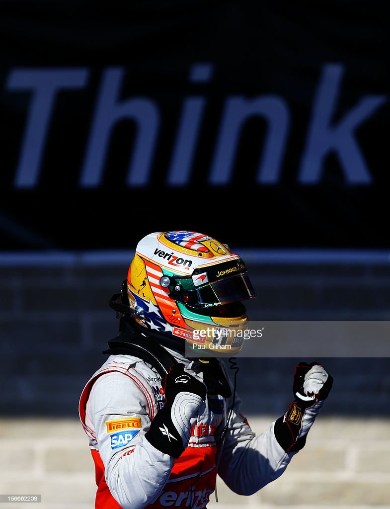 Lewis Hamilton of Great Britain and McLaren celebrates in parc ferme after winning the United States Formula One Grand Prix at the Circuit of the Americas on November 18, 2012 in Austin, Texas.