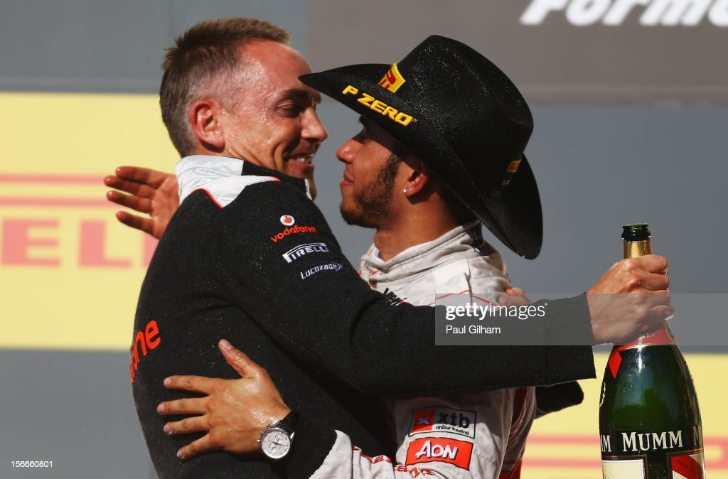 <a gi-track='captionPersonalityLinkClicked' href=/galleries/search?phrase=Lewis+Hamilton&family=editorial&specificpeople=586983 ng-click='$event.stopPropagation()'>Lewis Hamilton</a> of Great Britain and McLaren celebrates on the podium with his Team Principal <a gi-track='captionPersonalityLinkClicked' href=/galleries/search?phrase=Martin+Whitmarsh&family=editorial&specificpeople=2374153 ng-click='$event.stopPropagation()'>Martin Whitmarsh</a> after winning the United States Formula One Grand Prix at the Circuit of the Americas on November 18, 2012 in Austin, Texas.