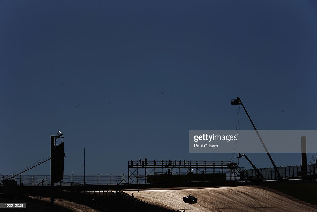 Lewis Hamilton of Great Britain and McLaren drives during practice for the United States Formula One Grand Prix at the Circuit of the Americas on November 16, 2012 in Austin, Texas.