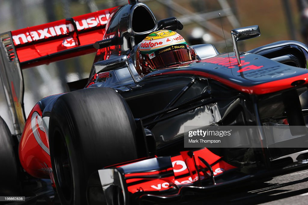 <a gi-track='captionPersonalityLinkClicked' href=/galleries/search?phrase=Lewis+Hamilton&family=editorial&specificpeople=586983 ng-click='$event.stopPropagation()'>Lewis Hamilton</a> of Great Britain and McLaren drives during practice for the Brazilian Formula One Grand Prix at the Autodromo Jose Carlos Pace on November 23, 2012 in Sao Paulo, Brazil.