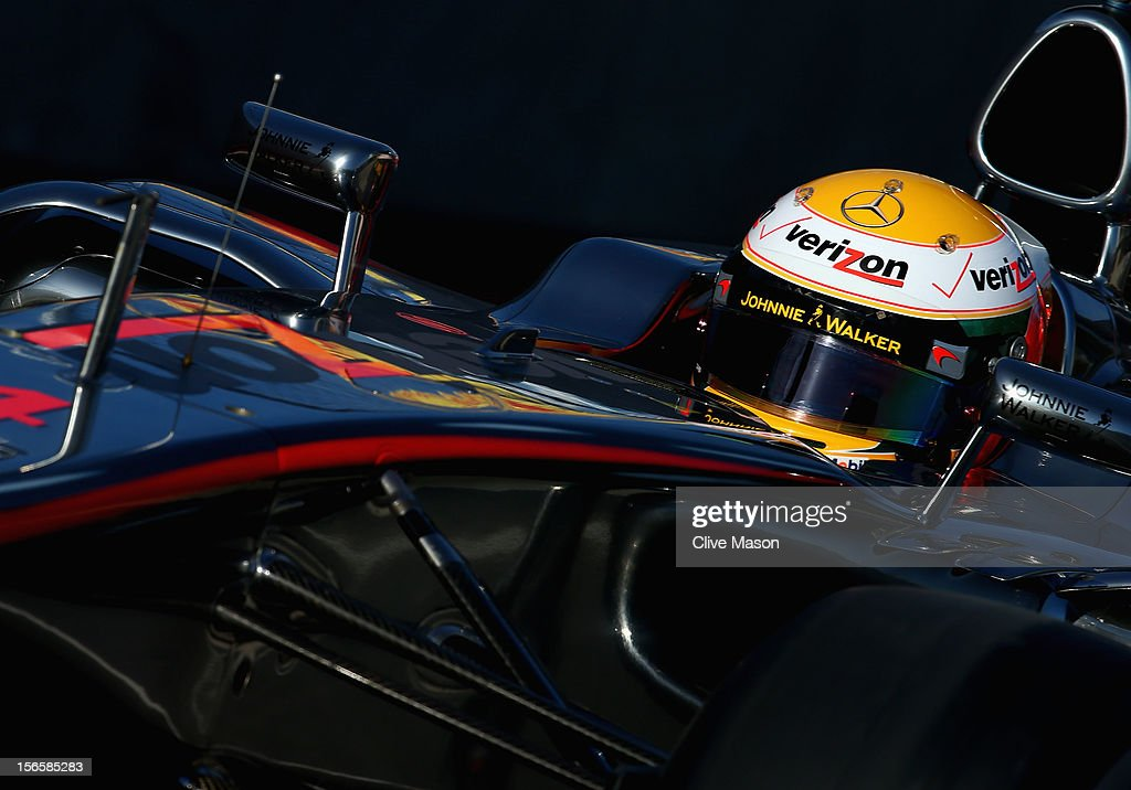Lewis Hamilton of Great Britain and McLaren drives during the final practice session prior to qualifying for the United States Formula One Grand Prix at the Circuit of the Americas on November 17, 2012 in Austin, Texas.