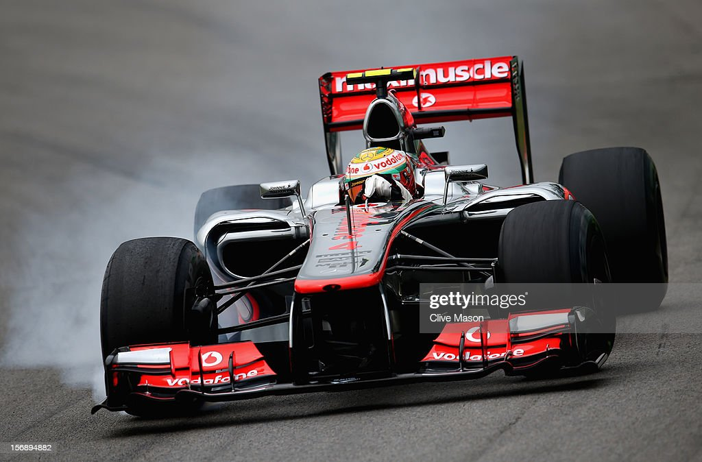 Lewis Hamilton of Great Britain and McLaren drives during the final practice session prior to qualifying for the Brazilian Formula One Grand Prix at the Autodromo Jose Carlos Pace on November 24, 2012 in Sao Paulo, Brazil.