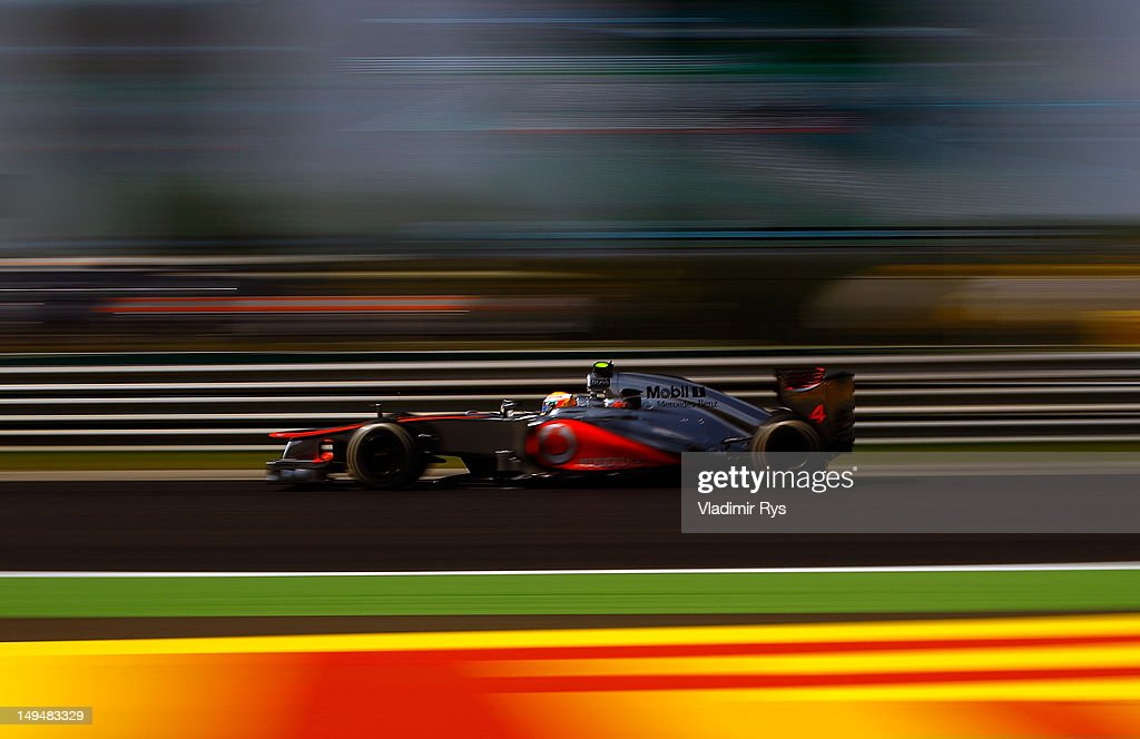 <a gi-track='captionPersonalityLinkClicked' href=/galleries/search?phrase=Lewis+Hamilton&family=editorial&specificpeople=586983 ng-click='$event.stopPropagation()'>Lewis Hamilton</a> of Great Britain and McLaren drives during the Hungarian Formula One Grand Prix at the Hungaroring on July 29, 2012 in Budapest, Hungary.