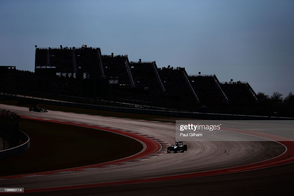 Lewis Hamilton of Great Britain and McLaren drives during the United States Formula One Grand Prix at the Circuit of the Americas on November 18, 2012 in Austin, Texas.