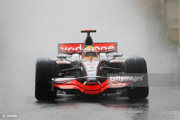 Lewis Hamilton of Great Britain and McLaren Mercedes drives during the Monaco Formula One Grand Prix at the Monte Carlo Circuit on May 25 2008 in...