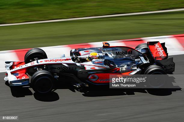 Lewis Hamilton of Great Britain and McLaren Mercedes drives during the final practice session prior to qualifying for the French Formula One Grand...