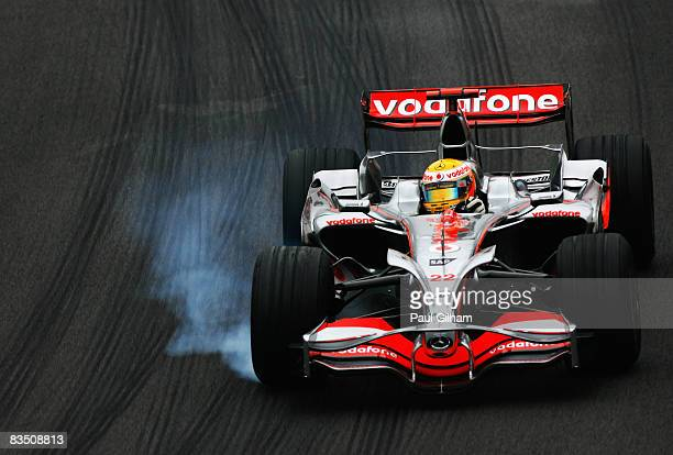 Lewis Hamilton of Great Britain and McLaren Mercedes drives during practice for the Brazilian Formula One Grand Prix at the Interlagos Circuit on...