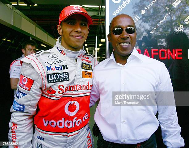 Lewis Hamilton of Great Britain and McLaren Mercedes pictured with his father Anthony Hamilton after the Australian Formula One Grand Prix at the...