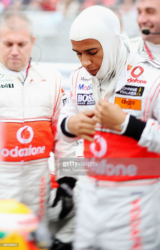 Lewis Hamilton of Great Britain and McLaren Mercedes prepares to drive during the Japanese Formula One Grand Prix at the Fuji Speedway on October 12, 2008 in Shizuoka, Japan.