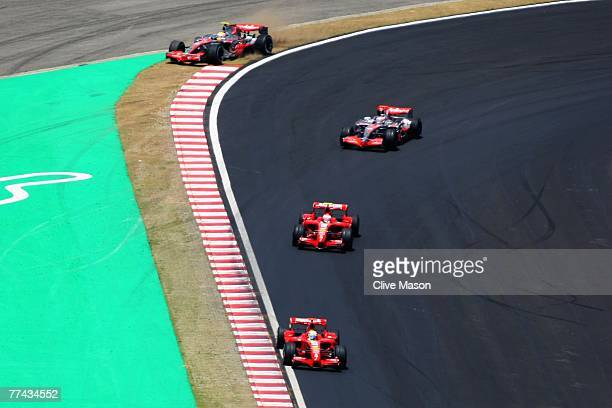 Lewis Hamilton of Great Britain and McLaren Mercedes runs wide off the track during the Brazilian Formula One Grand Prix at the Autodromo Interlagos...