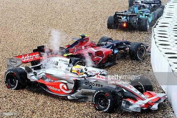 Lewis Hamilton of Great Britain and McLaren Mercedes Scott Speed of United States and Scuderia Toro Rosso and Jenson Button of Great Britain and...