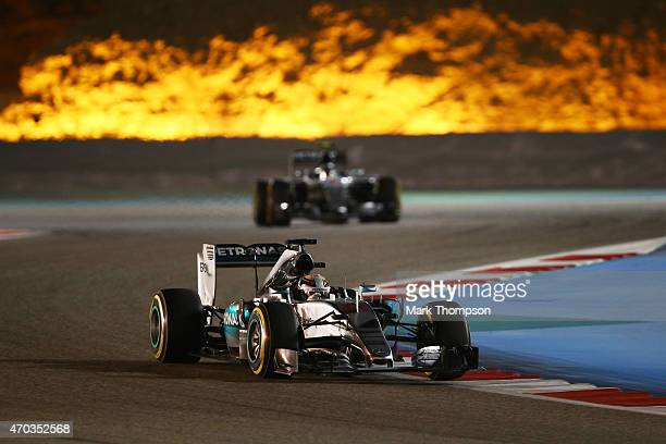Lewis Hamilton of Great Britain and Mercededs GP drives during the Bahrain Formula One Grand Prix at Bahrain International Circuit on April 19 2015...