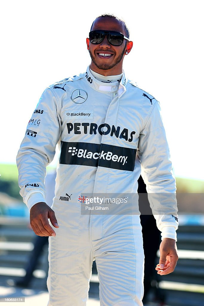 <a gi-track='captionPersonalityLinkClicked' href=/galleries/search?phrase=Lewis+Hamilton&family=editorial&specificpeople=586983 ng-click='$event.stopPropagation()'>Lewis Hamilton</a> of Great Britain and Mercedes arrives for the Mercedes GP F1 W04 Launch at Circuito de Jerez on February 4, 2013 in Jerez de la Frontera, Spain.