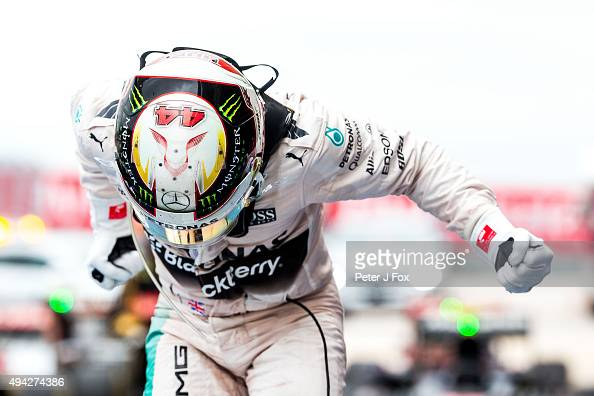 Lewis Hamilton of Great Britain and Mercedes celebrates during the United States Formula One Grand Prix at Circuit of The Americas on October 25 2015...