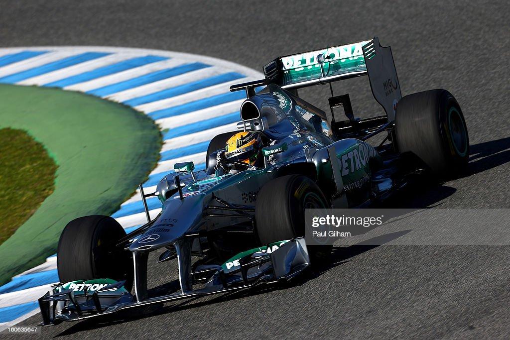 Lewis Hamilton of Great Britain and Mercedes drives following the Mercedes GP F1 W04 Launch at Circuito de Jerez on February 4, 2013 in Jerez de la Frontera, Spain.