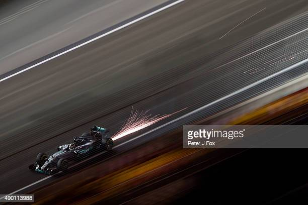 Lewis Hamilton of Great Britain and Mercedes during the Formula One Grand Prix of Singapore at Marina Bay Street Circuit on September 20 2015 in...