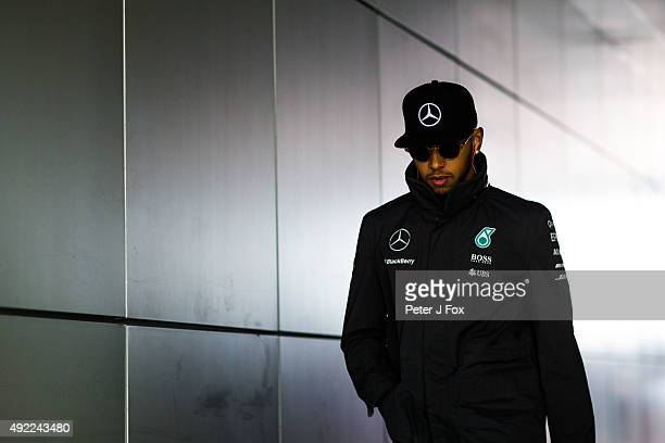 Lewis Hamilton of Great Britain and Mercedes during the Formula One Grand Prix of Russia at Sochi Autodrom on October 11 2015 in Sochi Russia