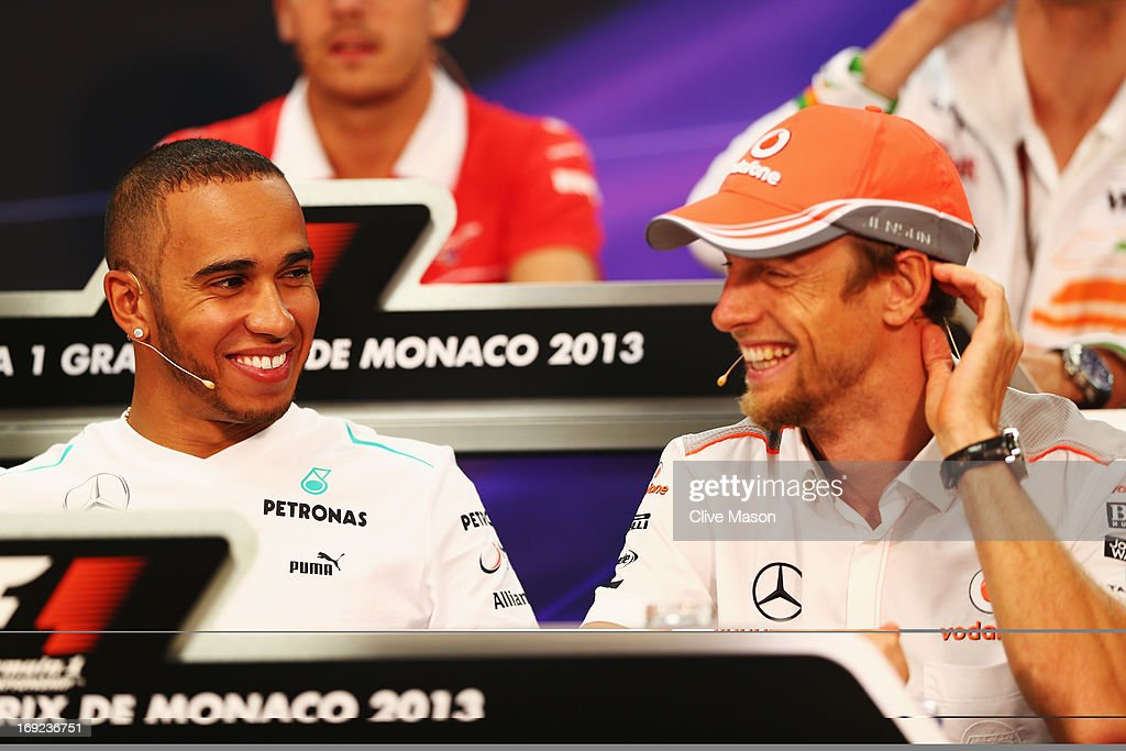 <a gi-track='captionPersonalityLinkClicked' href=/galleries/search?phrase=Lewis+Hamilton+-+Racecar+Driver&family=editorial&specificpeople=586983 ng-click='$event.stopPropagation()'>Lewis Hamilton</a> of Great Britain and Mercedes GP and <a gi-track='captionPersonalityLinkClicked' href=/galleries/search?phrase=Jenson+Button&family=editorial&specificpeople=171505 ng-click='$event.stopPropagation()'>Jenson Button</a> of Great Britain and McLaren attend the drivers press conference during previews to the Monaco Formula One Grand Prix at the Circuit de Monaco on May 22, 2013 in Monte-Carlo, Monaco.