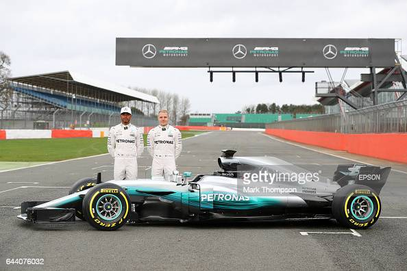 Lewis Hamilton of Great Britain and Mercedes GP and Valtteri Bottas of Finland and Mercedes GP pose during the launch of the Mercedes formula one...