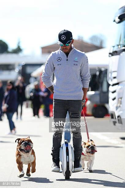 Lewis Hamilton of Great Britain and Mercedes GP arrives in the paddock with his dogs Roscoe and Coco during day one of F1 winter testing at Circuit...