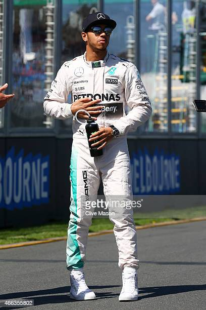 Lewis Hamilton of Great Britain and Mercedes GP attends the drivers' parade before the Australian Formula One Grand Prix at Albert Park on March 15...