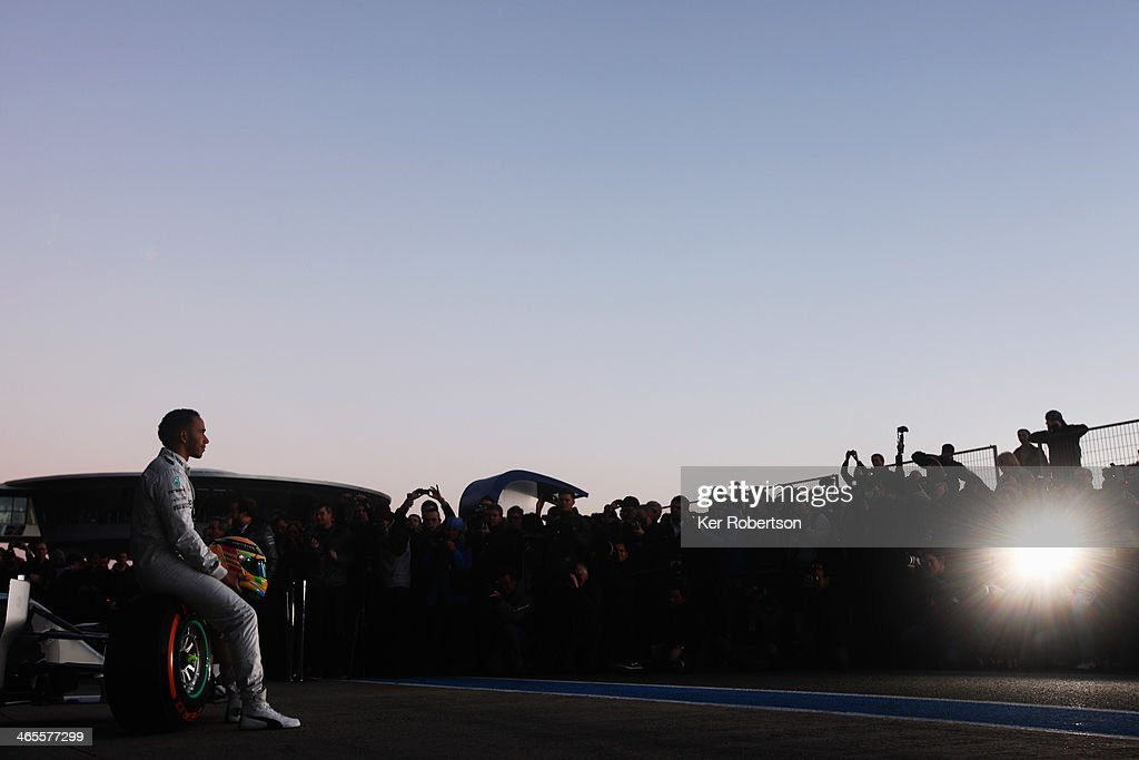 <a gi-track='captionPersonalityLinkClicked' href=/galleries/search?phrase=Lewis+Hamilton+-+Racecar+Driver&family=editorial&specificpeople=586983 ng-click='$event.stopPropagation()'>Lewis Hamilton</a> of Great Britain and Mercedes GP attends the launch of the new Mercedes W05 during day one of Formula One Winter Testing at the Circuito de Jerez on January 28, 2014 in Jerez de la Frontera, Spain.