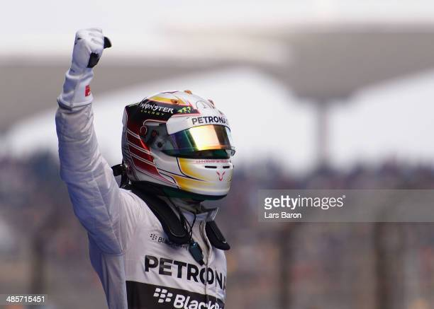 Lewis Hamilton of Great Britain and Mercedes GP celebrates his victory following the Chinese Formula One Grand Prix at the Shanghai International...