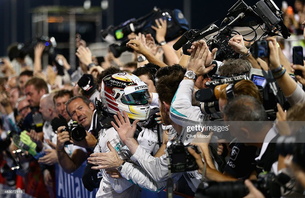 Lewis Hamilton of Great Britain and Mercedes GP celebrates in parc ferme after winning the Bahrain Formula One Grand Prix at the Bahrain International Circuit on April 6, 2014 in Sakhir, Bahrain.