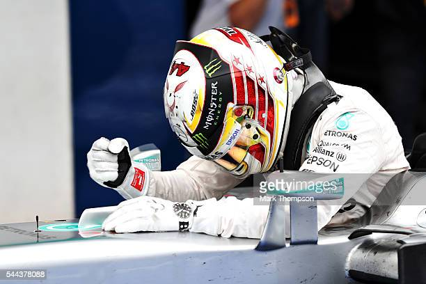 Lewis Hamilton of Great Britain and Mercedes GP celebrates in parc ferme during the Formula One Grand Prix of Austria at Red Bull Ring on July 3 2016...