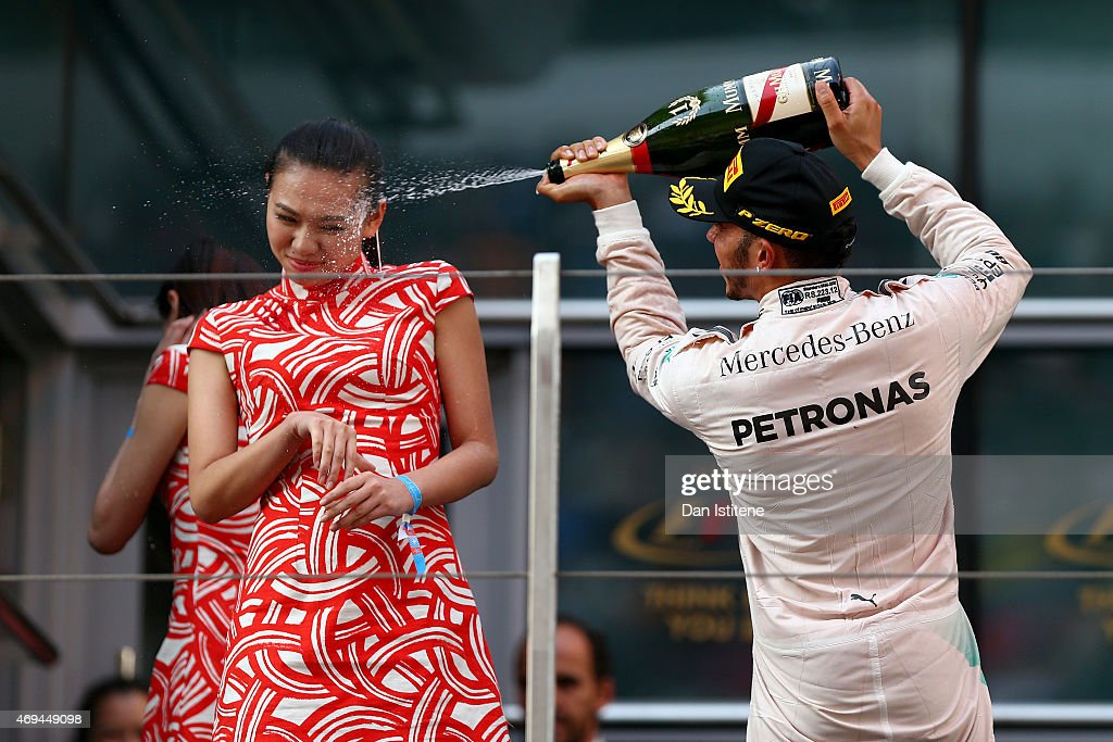 <a gi-track='captionPersonalityLinkClicked' href=/galleries/search?phrase=Lewis+Hamilton&family=editorial&specificpeople=586983 ng-click='$event.stopPropagation()'>Lewis Hamilton</a> of Great Britain and Mercedes GP celebrates on the podium after winning the Formula One Grand Prix of China at Shanghai International Circuit on April 12, 2015 in Shanghai, China.