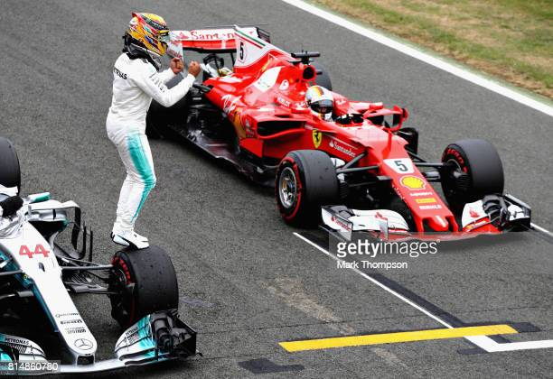 Lewis Hamilton of Great Britain and Mercedes GP celebrates qualifying in pole position during qualifying for the Formula One Grand Prix of Great...