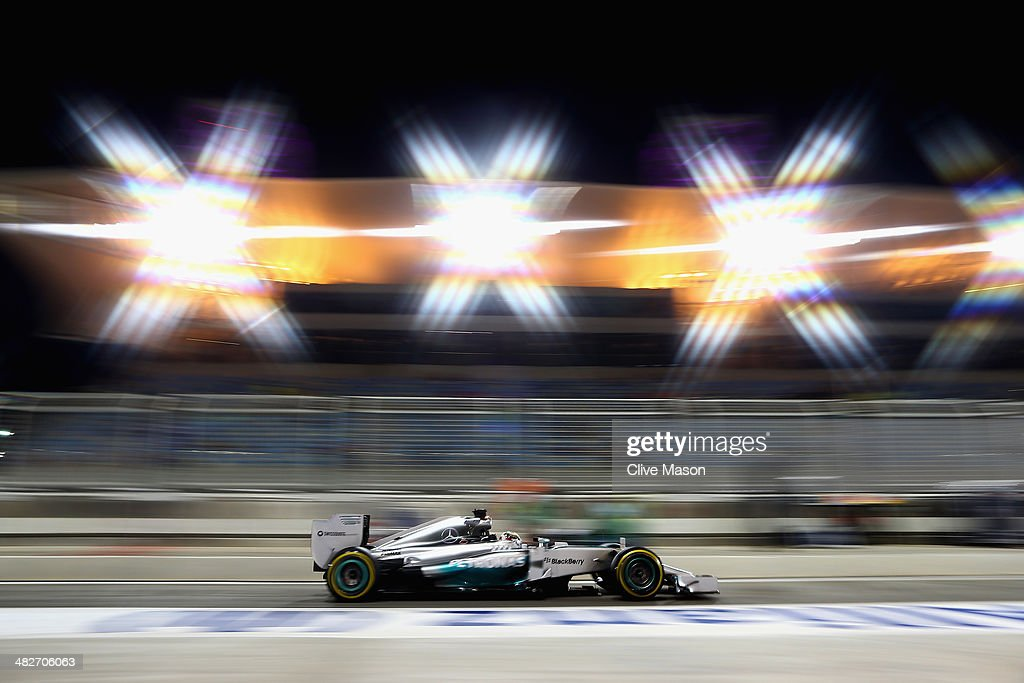 Lewis Hamilton of Great Britain and Mercedes GP drives down the pitlane during practice for the Bahrain Formula One Grand Prix at the Bahrain International Circuit on April 4, 2014 in Sakhir, Bahrain.