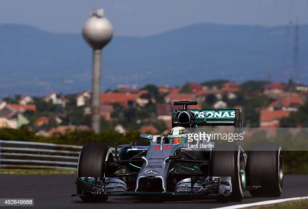 Lewis Hamilton of Great Britain and Mercedes GP drives during practice ahead of the Hungarian Formula One Grand Prix at Hungaroring on July 25 2014...