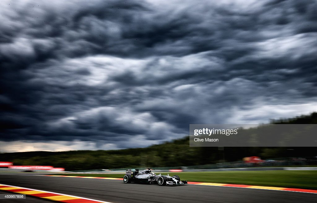 Lewis Hamilton of Great Britain and Mercedes GP drives during practice ahead of the Belgian Grand Prix at Circuit de Spa-Francorchamps on August 22, 2014 in Spa, Belgium.