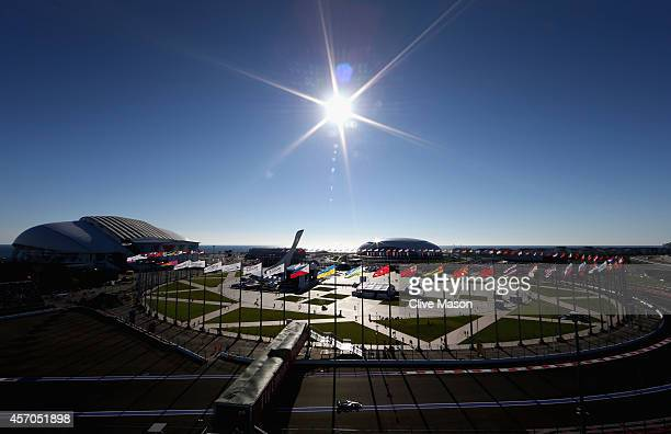 Lewis Hamilton of Great Britain and Mercedes GP drives during qualifying ahead of the Russian Formula One Grand Prix at Sochi Autodrom on October 11...