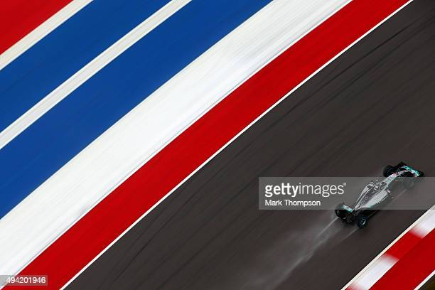 Lewis Hamilton of Great Britain and Mercedes GP drives during qualifying before the United States Formula One Grand Prix at Circuit of The Americas...