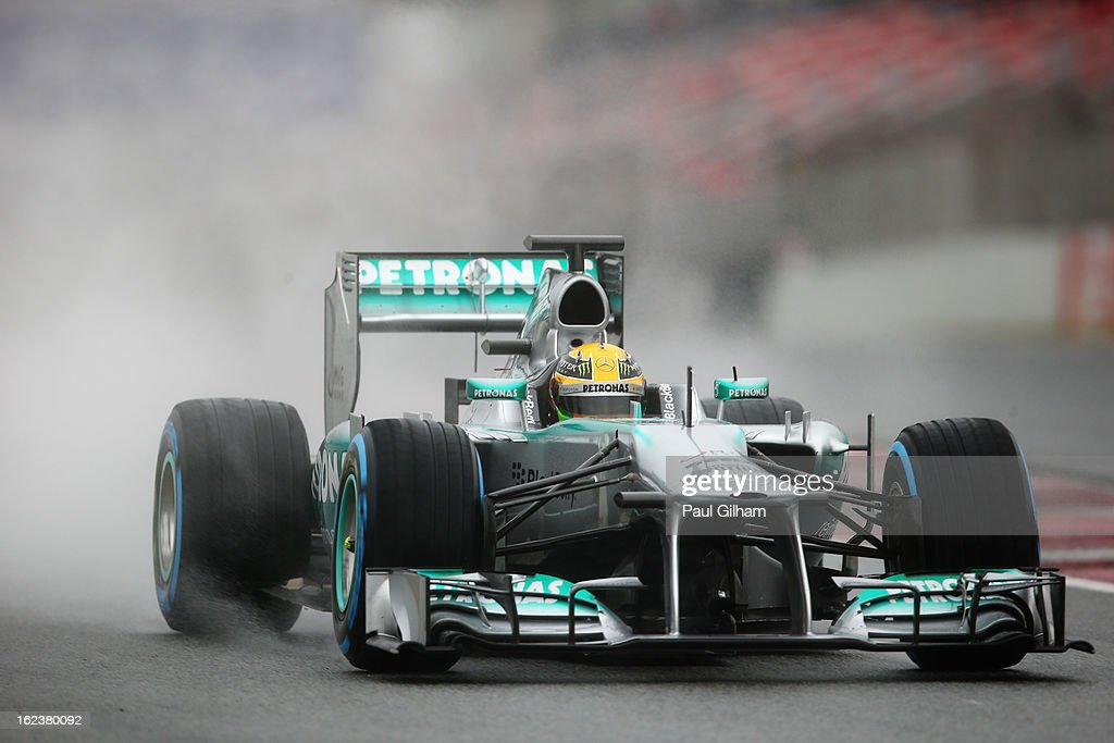 <a gi-track='captionPersonalityLinkClicked' href=/galleries/search?phrase=Lewis+Hamilton&family=editorial&specificpeople=586983 ng-click='$event.stopPropagation()'>Lewis Hamilton</a> of Great Britain and Mercedes GP drives during day four of Formula One winter tesingt at the Circuit de Catalunya on February 22, 2013 in Montmelo, Spain.