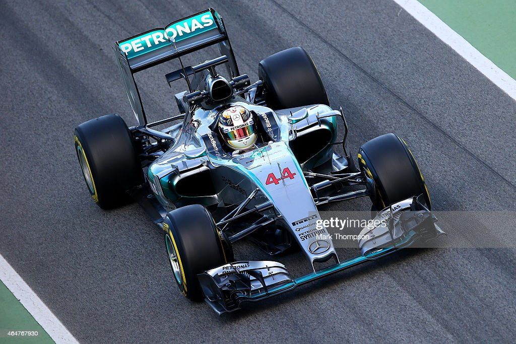 Lewis Hamilton of Great Britain and Mercedes GP drives during day three of the final Formula One Winter Testing at Circuit de Catalunya on February...