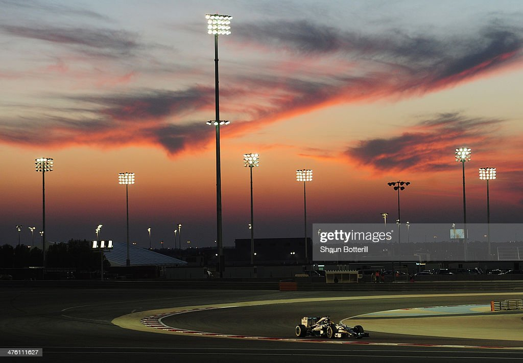 Lewis Hamilton of Great Britain and Mercedes GP drives during day four of Formula One Winter Testing at the Bahrain International Circuit on March 2, 2014 in Bahrain, Bahrain.