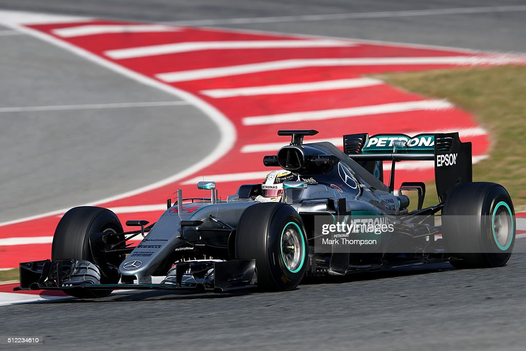 Lewis Hamilton of Great Britain and Mercedes GP drives during day four of F1 winter testing at Circuit de Catalunya on February 25, 2016 in Montmelo, Spain.