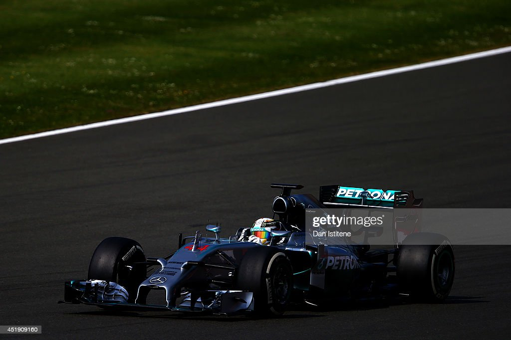 <a gi-track='captionPersonalityLinkClicked' href=/galleries/search?phrase=Lewis+Hamilton&family=editorial&specificpeople=586983 ng-click='$event.stopPropagation()'>Lewis Hamilton</a> of Great Britain and Mercedes GP drives during day two of testing at Silverstone Circuit on July 9, 2014 in Northampton, England.