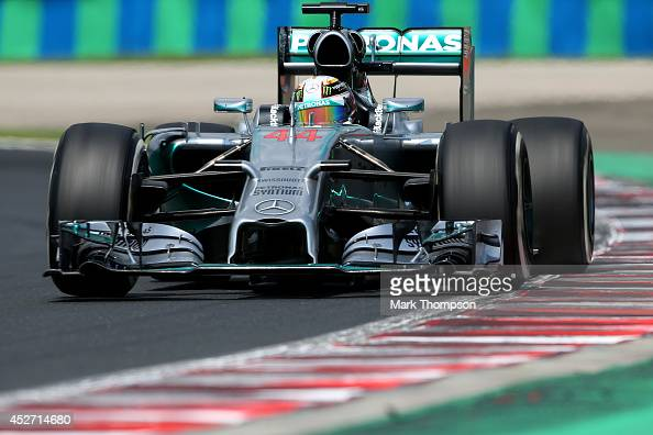 Lewis Hamilton of Great Britain and Mercedes GP drives during final practice ahead of the Hungarian Formula One Grand Prix at Hungaroring on July 26...