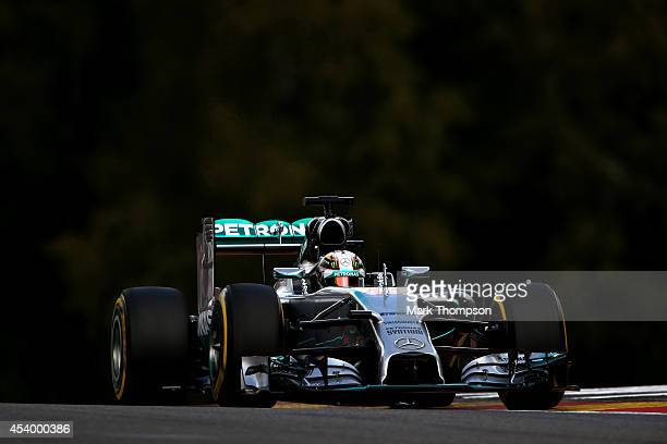 Lewis Hamilton of Great Britain and Mercedes GP drives during final practice ahead of the Belgian Grand Prix at Circuit de SpaFrancorchamps on August...
