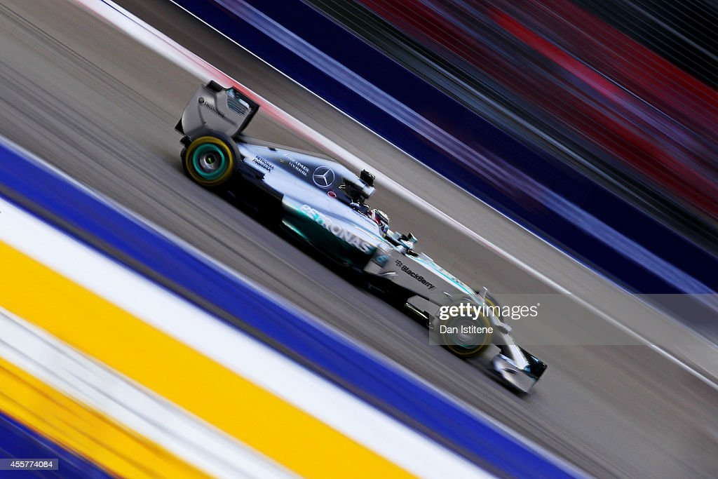 Lewis Hamilton of Great Britain and Mercedes GP drives during final practice ahead of the Singapore Formula One Grand Prix at Marina Bay Street on...