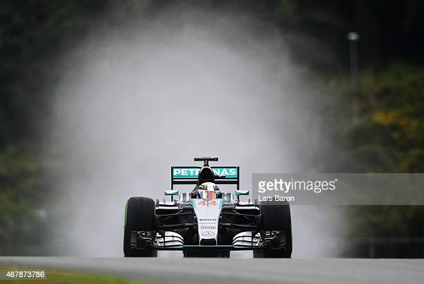 Lewis Hamilton of Great Britain and Mercedes GP drives during final practice for the Malaysia Formula One Grand Prix at Sepang Circuit on March 28...