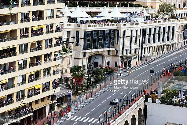Lewis Hamilton of Great Britain and Mercedes GP drives during final practice for the Monaco Formula One Grand Prix at Circuit de Monaco on May 23...
