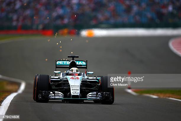 Lewis Hamilton of Great Britain and Mercedes GP drives during final practice for the Formula One Grand Prix of Great Britain at Silverstone Circuit...