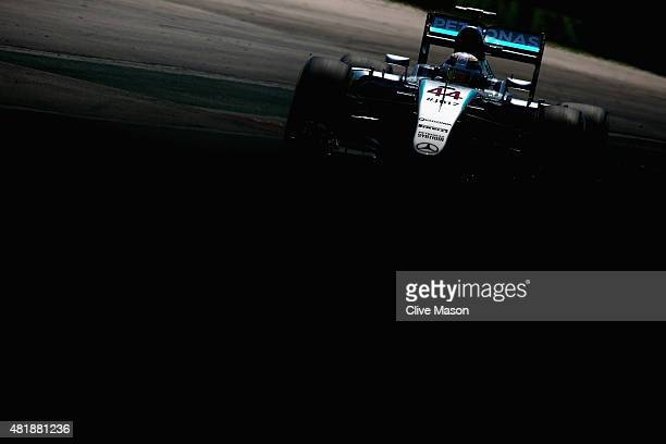 Lewis Hamilton of Great Britain and Mercedes GP drives during final practice for the Formula One Grand Prix of Hungary at Hungaroring on July 25 2015...